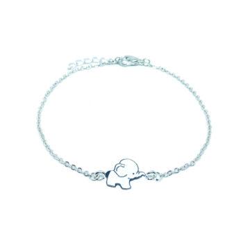 White Enamel Elephant Chain Bracelet