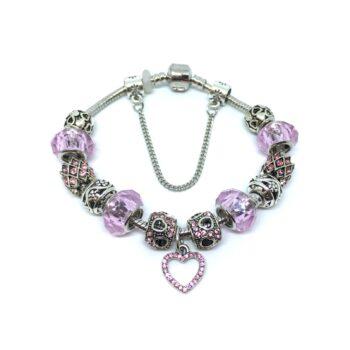 Crystal Beads Heart Charm European Bracelet