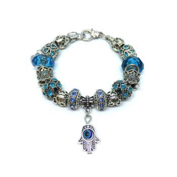 Crystal Beads Hamsa Charm European Bracelet