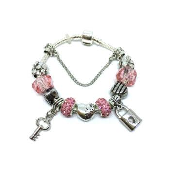 Heart Love Bead Lock & Key Charm European Bracelet