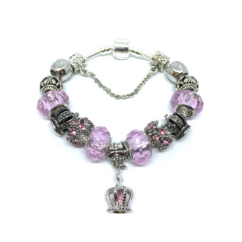 Murano Glass Crystal Bead Crown Cross European Bracelet