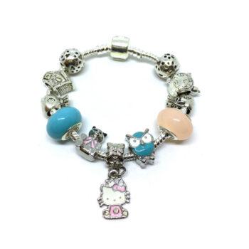 Murano Glass Bead Enamel Cat Charm European Bracelet