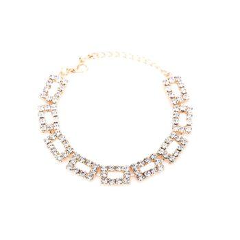 Rectangle Rhinestone Charm Link Bracelet
