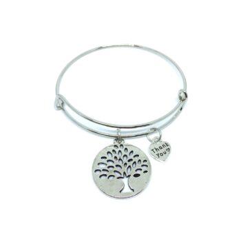 Tree & Thank you Charm Bangle Bracelets