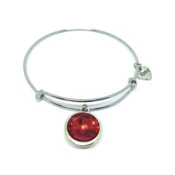 Red Crystal Love Charm Bangle Bracelets