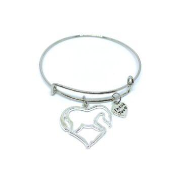 Horse & Thank you Charm Bangle Bracelets