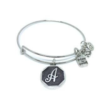 """A"" Initial Letter Expandable Wire Bangle Bracelets"