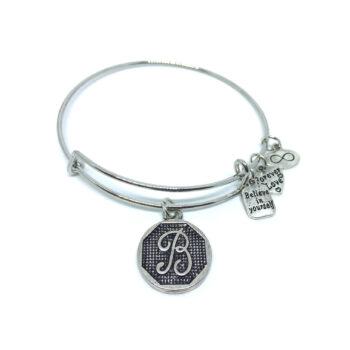"""B"" Initial Letter Expandable Wire Bangle Bracelets"