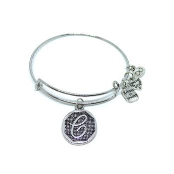"""C"" Initial Letter Expandable Wire Bangle Bracelets"