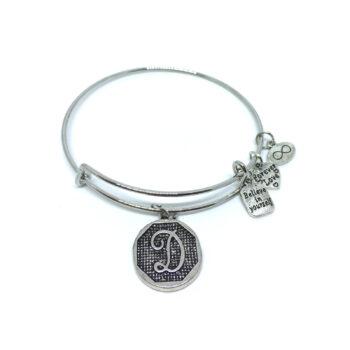 """""""D"""" Initial Letter Expandable Wire Bangle Bracelets"""