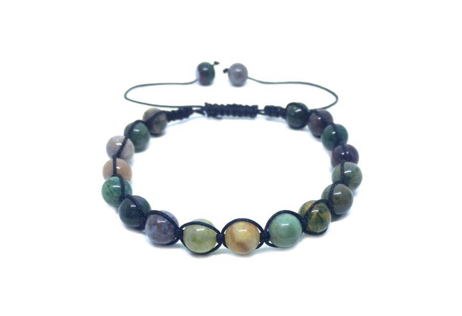 Braided Natural Agate Bead Bracelet
