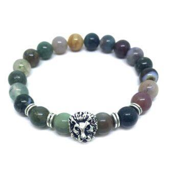 Lion Natural Agate Bead Bracelet