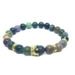 Crown Bead Natural Agate Bracelet