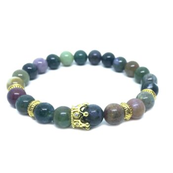 Crown Bead Natural Agate Bracelet