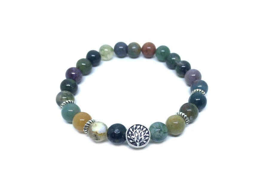 Tree Bead Natural Agate Bracelet