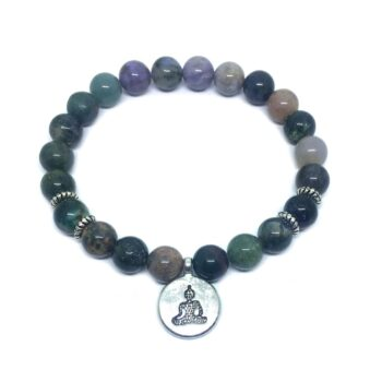 Buddha Charm Natural Agate Stretch Bracelet
