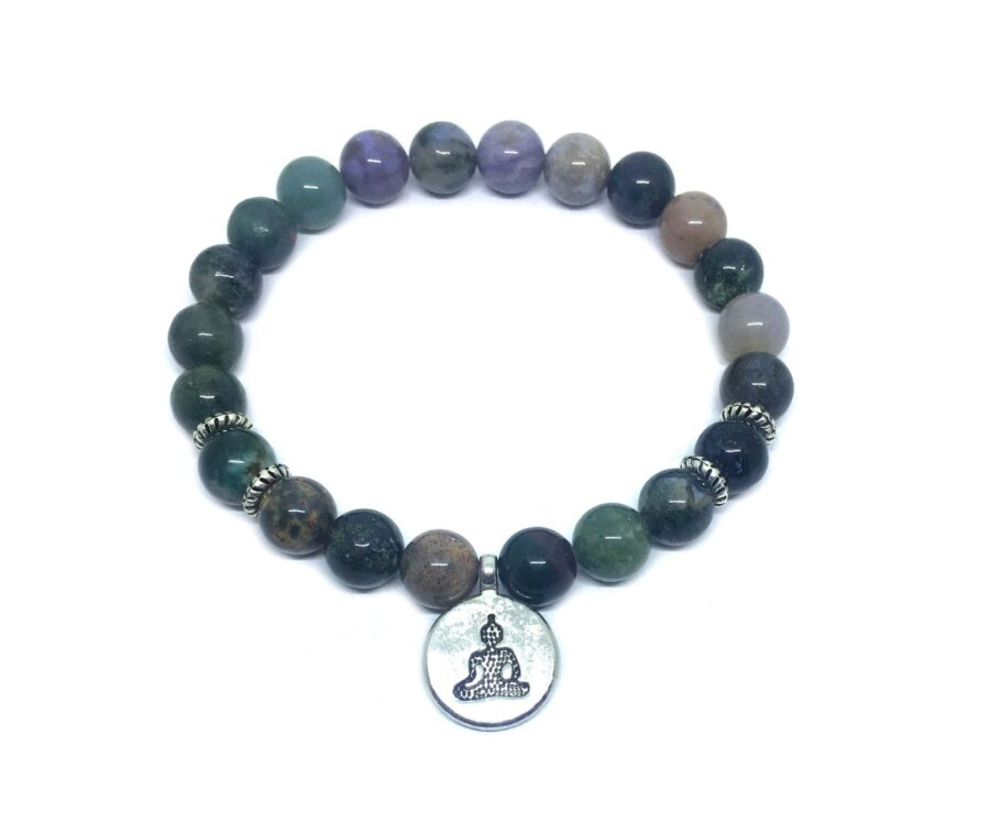 Buddha Charm Natural Agate Stretch Bracelet