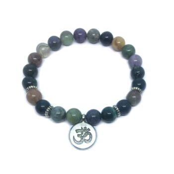 Om Charm Natural Agate Stretch Bracelet