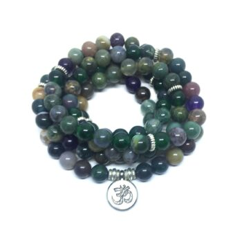 Three Loops, Natural 108 Agate Beads Om Charm Stretch Wrap Bracelet