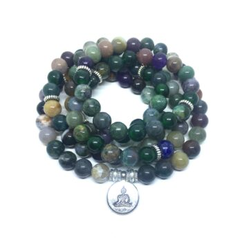 Natural 108 Agate Beads Buddha Charm Stretch Bracelet