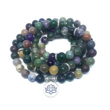 Natural 108 Agate Beads Lotus Charm Wrap Bracelet