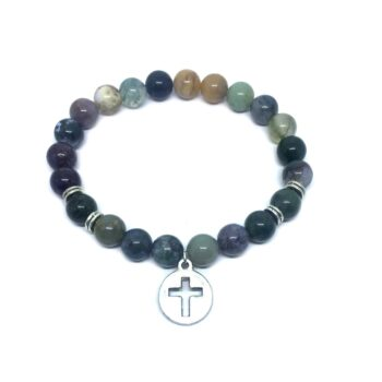 Cross Charm Agate Stretch Bracelet