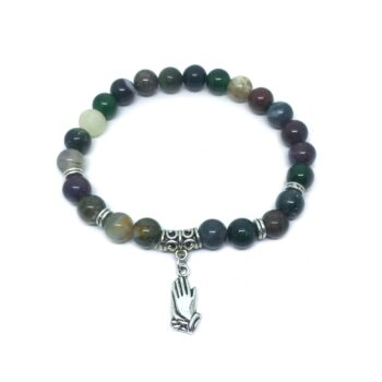 Praying hand Charm Agate Stretch Bracelet