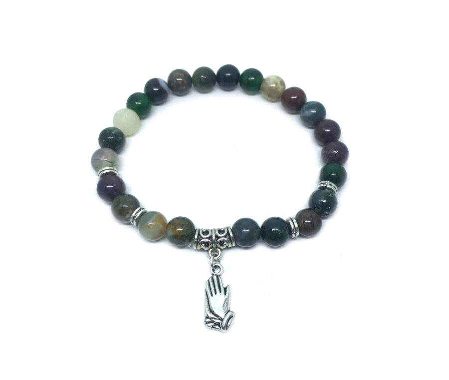 Praying hand Charm Agate Stretch Bracelet