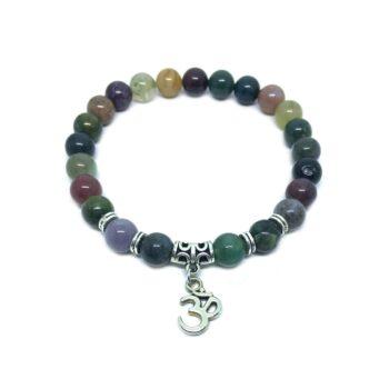Om Charm Agate Stretch Bracelet