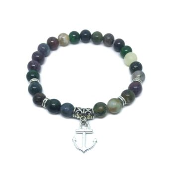 Anchor Charm Agate Stretch Bracelet