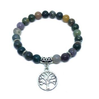 Tree Charm Agate Stretch Bracelet
