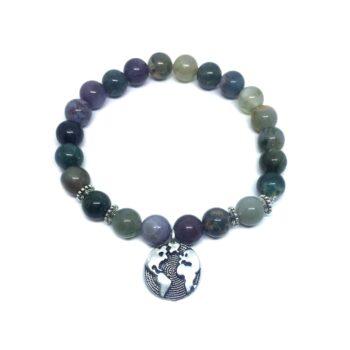 Earth Charm Agate Stretch Bracelet