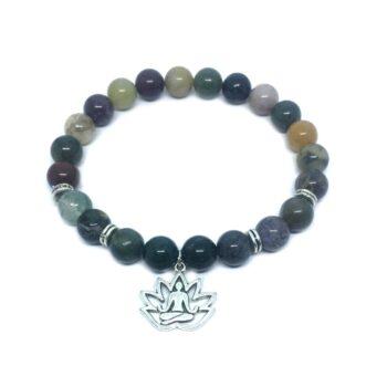 Yoga Charm Agate Stretch Bracelet
