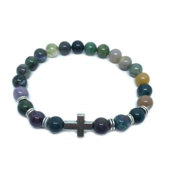 Cross Bead Agate Bracelet