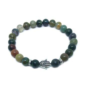 Hamsa Bead Agate Bracelet