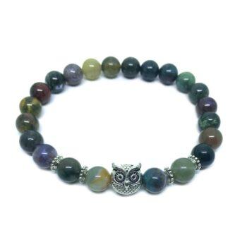Owl Bead Agate Bracelet