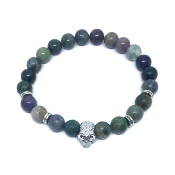 Skull Bead Agate Bracelet