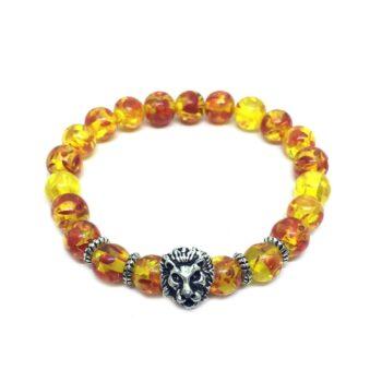Lion Amber Bead Bracelet