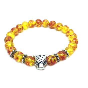 Leopard Amber Bead Bracelet