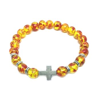 Cross Amber Bracelet