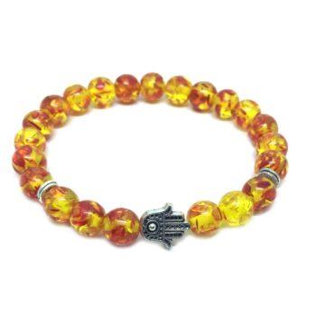 Hamsa Bead Amber Bracelet