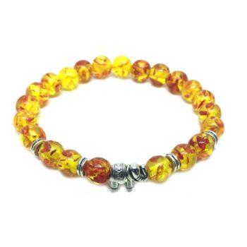 Elephant Bead Amber Bracelet