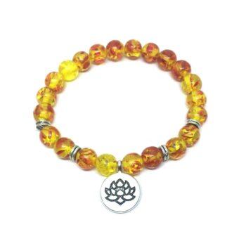 Lotus Charm Amber Stretch Bracelet
