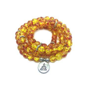 Three Loops, 108 Amber Beads Buddha Charm Stretch Wrap Bracelet