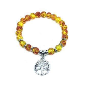 Tree Charm Amber Stretch Bracelet