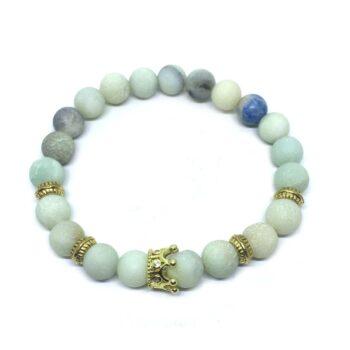 Crown Natural Amazonite Bead Bracelet