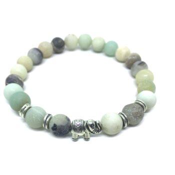 Elephant Bead Natural Amazonite Bracelet