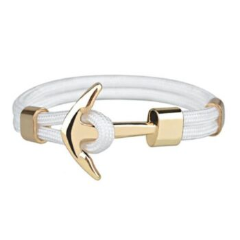 White Nylon Rope Anchor Bracelet