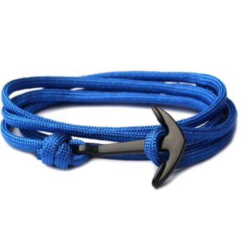 Multilayer Blue Nylon Rope Black Anchor Bracelet
