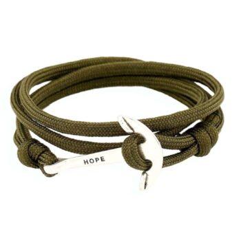 Handmade Polyester Cord Black Anchor Bracelet